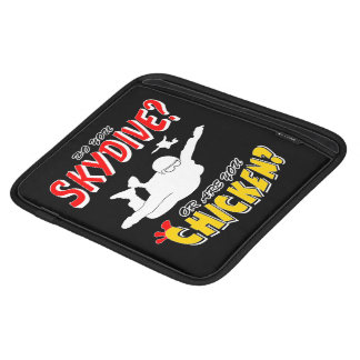 Skydive or Chicken? (wht) iPad Sleeves