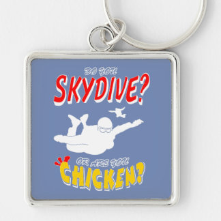 Skydive or Chicken? (wht) Key Ring