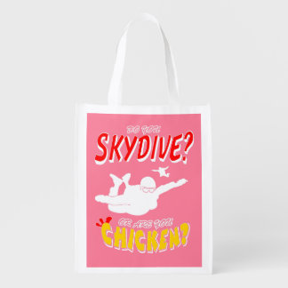 Skydive or Chicken? (wht) Reusable Grocery Bag