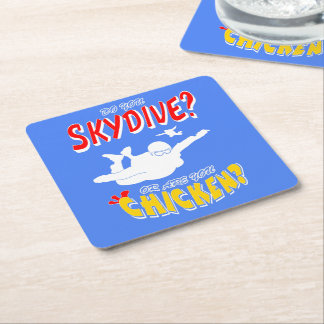 Skydive or Chicken? (wht) Square Paper Coaster