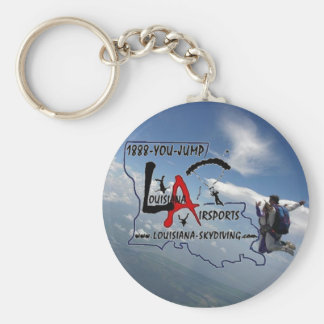 skydive parachute clouds tandem, Louisiana Skyd... Basic Round Button Key Ring