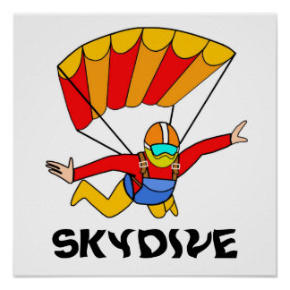Skydive Red Yello Parachute Poster