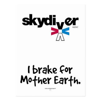 SKYDIVER - I brake for Mother Earth. Postcard