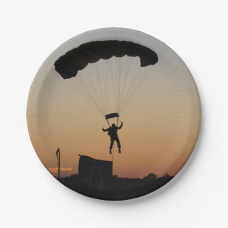 Skydiver Parachute at Sunset Paper Plate