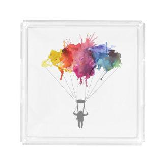 Skydiver, Parachute. Skydiving Sport. Parachuting Acrylic Tray