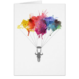 Skydiver, Parachute. Skydiving Sport. Parachuting Card