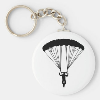 skydiver silhouette basic round button key ring