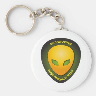 Skydivers Are People Too Basic Round Button Key Ring