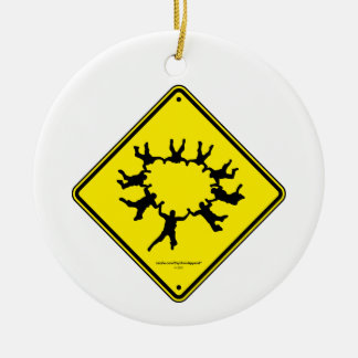 Skydivers Caution Sign Ceramic Ornament