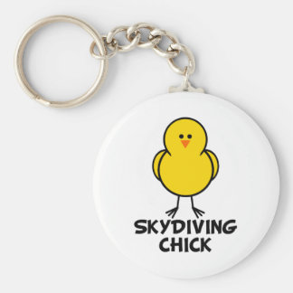 Skydiving Chick Basic Round Button Key Ring