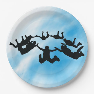 Skydiving Freefall Design Paper Party Plate