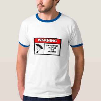 "Skydiving label blue ""ringer"" style shirt"