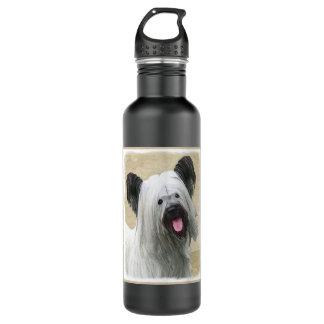 Skye Terrier Painting - Cute Original Dog Art 710 Ml Water Bottle