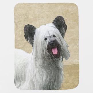 Skye Terrier Painting - Cute Original Dog Art Baby Blanket