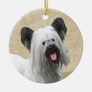 Skye Terrier Painting - Cute Original Dog Art Ceramic Ornament