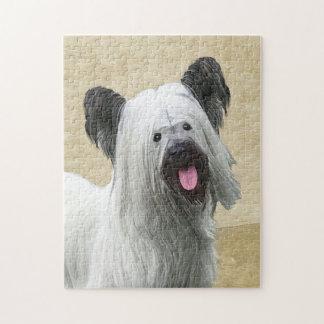 Skye Terrier Painting - Cute Original Dog Art Jigsaw Puzzle