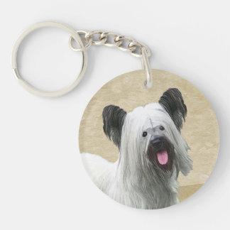 Skye Terrier Painting - Cute Original Dog Art Key Ring