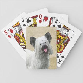 Skye Terrier Painting - Cute Original Dog Art Playing Cards
