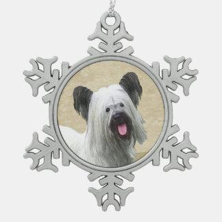 Skye Terrier Painting - Cute Original Dog Art Snowflake Pewter Christmas Ornament