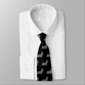 Skye Terrier Silhouettes Pattern Grey and Black Tie