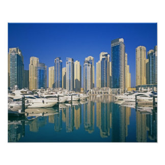 Skyline and boats on Dubai Marina Poster