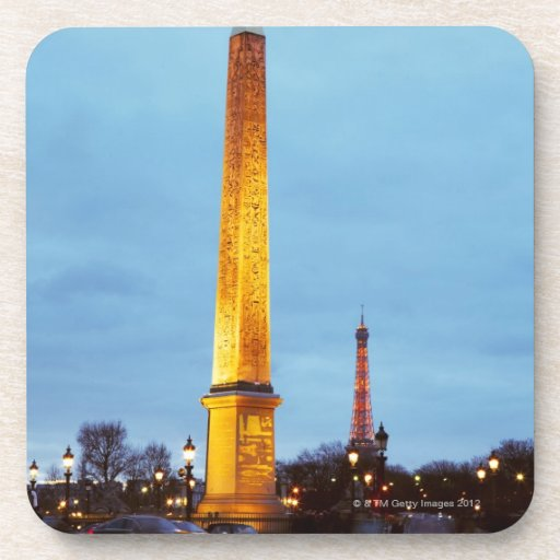 Skyline at dusk of 'Place de la Concorde' with Coasters