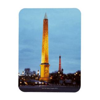 Skyline at dusk of 'Place de la Concorde' with Rectangular Photo Magnet