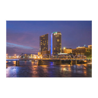 Skyline At Dusk, On The Grand River Stretched Canvas Print