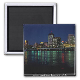 Skyline at night, Brisbane, Queensland, Australia Square Magnet