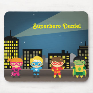 Skyline Cute Superhero For Kids Mouse Pad