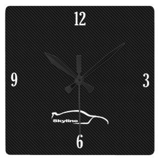 Skyline GT-R Brushstroke Logo Square Wall Clock