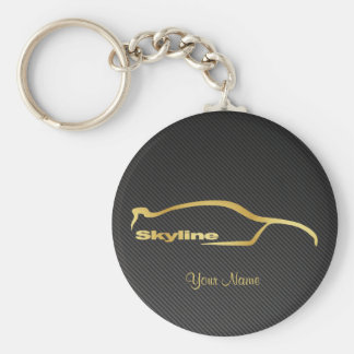 Skyline GT-R gold Silhouette w/ faux Carbon fiber Basic Round Button Key Ring