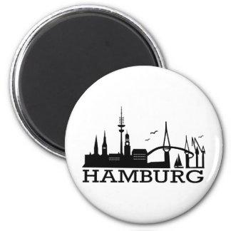 Skyline Hamburg 6 Cm Round Magnet