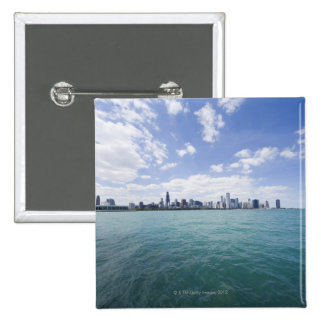 Skyline of Chicago from Lake Michigan Illinois Button