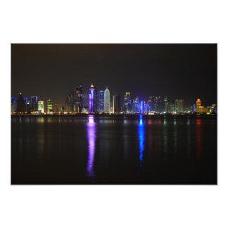 Skyline of Doha, Qatar at night Photo Art