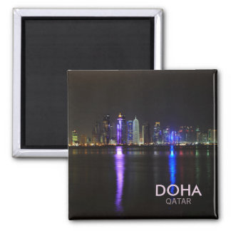 Skyline of Doha, Qatar at night square text magnet