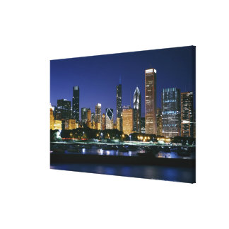 Skyline of Downtown Chicago at night Stretched Canvas Prints