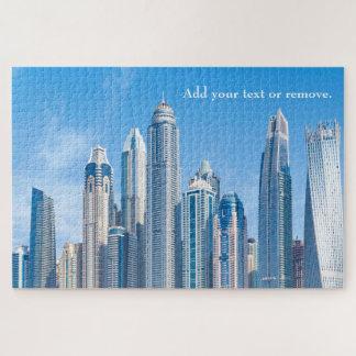 Skyline of futuristic city skyscrapers in Dubai, Jigsaw Puzzle