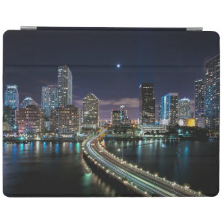 Skyline of Miami city with bridge at night iPad Cover
