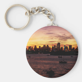 Skyline of Miami Florida at Sunset Key Ring