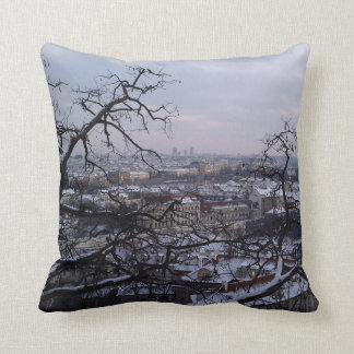 Skyline of Snowy Prague Cushion