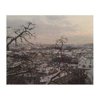 Skyline of Snowy Prague Wood Wall Art