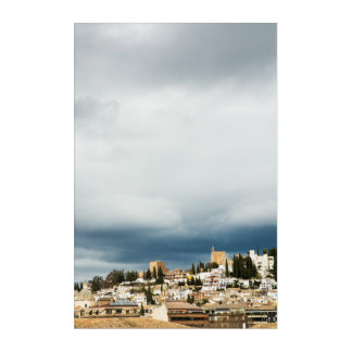 Skyline of the historic part of a city on a storm acrylic wall art