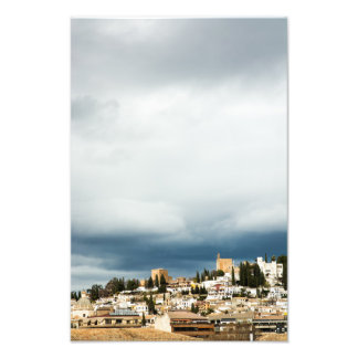 Skyline of the historic part of a city on a storm photo print