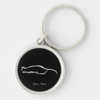 Skyline Silver Silhouette with Black Background Silver-Colored Round Key Ring