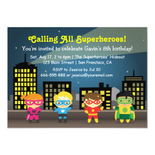 Skyline Superhero Birthday Party For Kids Invitation