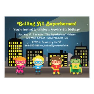 Skyline Superhero Birthday Party For Kids 11 Cm X 16 Cm Invitation Card