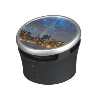 Skyline view of city in night. speaker