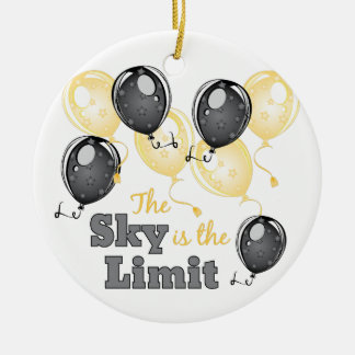Skys The Limit Round Ceramic Decoration