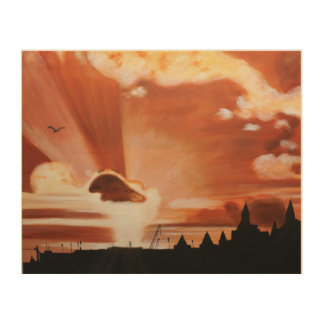 Skyscape of London as the sun is setting Wood Print